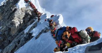 Traffic jam in Mount Everest